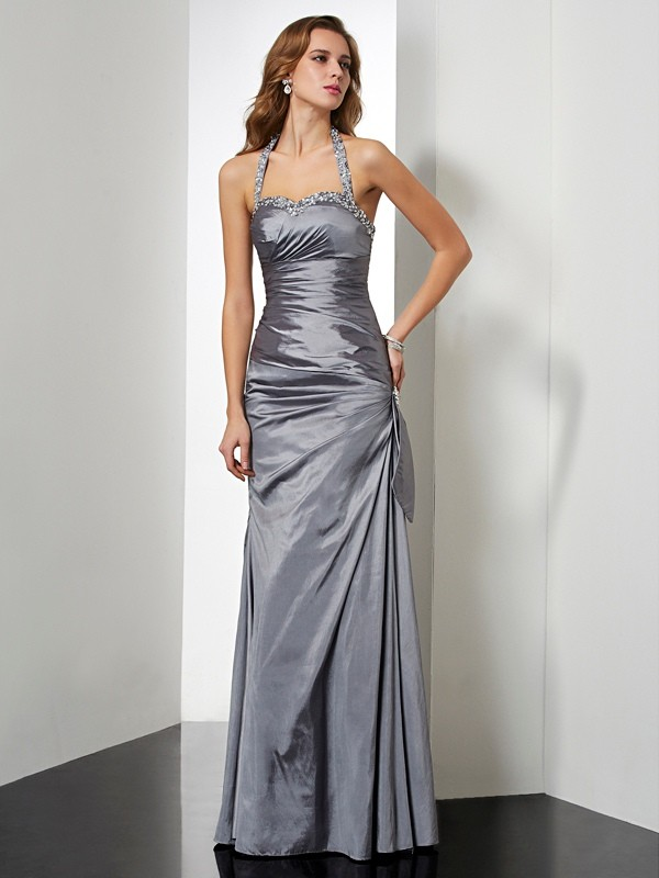 Taffeta Mermaid Floor-Length Halter Silver Prom Dresses