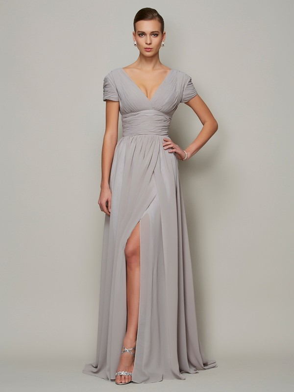 A-Line V-neck Floor-Length Grey Prom Dresses
