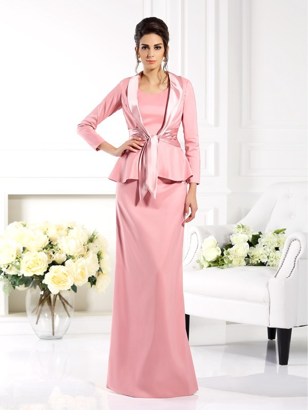 Square Floor-Length Pink Mother of the Bride Dresses