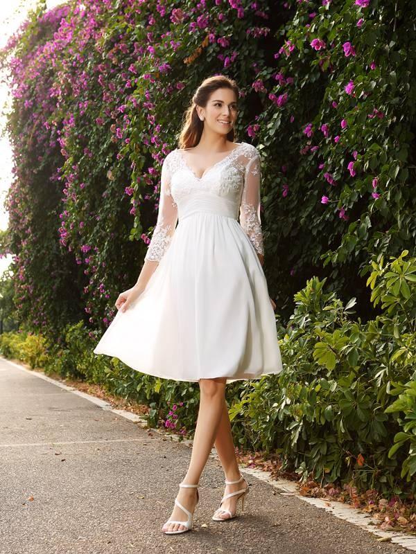 Ivory V-neck Chiffon Knee-Length Wedding Dresses