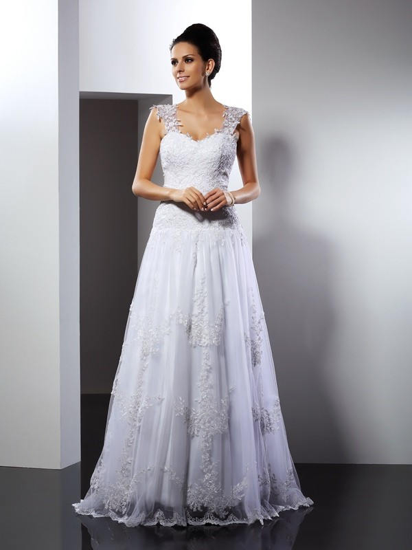 A-Line Straps Court Train White Wedding Dresses with Applique