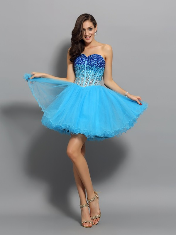 Blue Sweetheart Short/Mini Homecoming Dresses with Ruffles