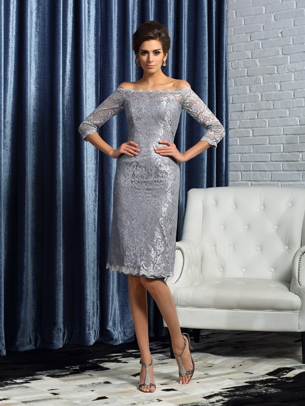 Silver Off-the-Shoulder Knee-Length Mother of the Bride Dresses with Lace