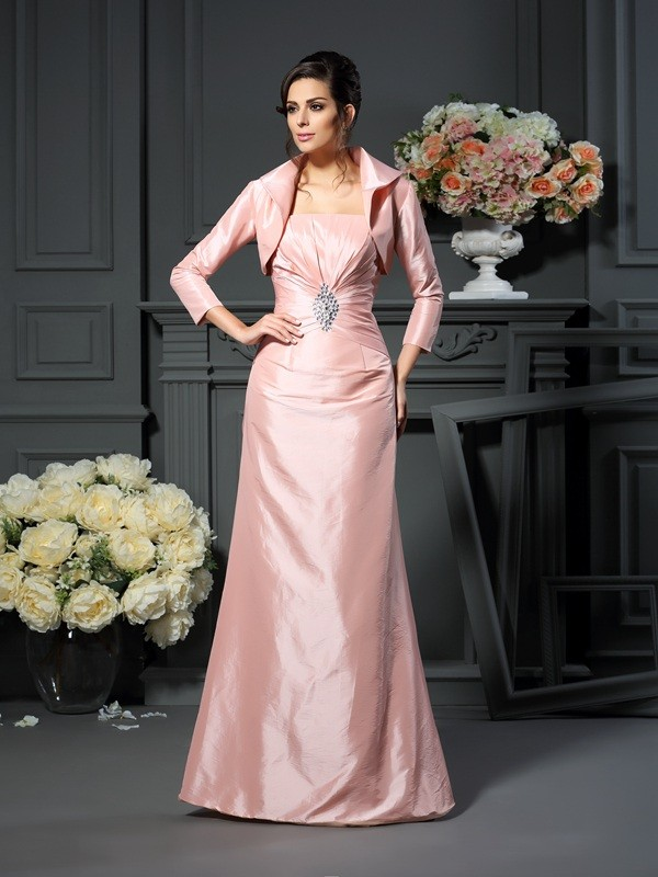 Strapless Floor-Length Pearl Pink Mother of the Bride Dresses