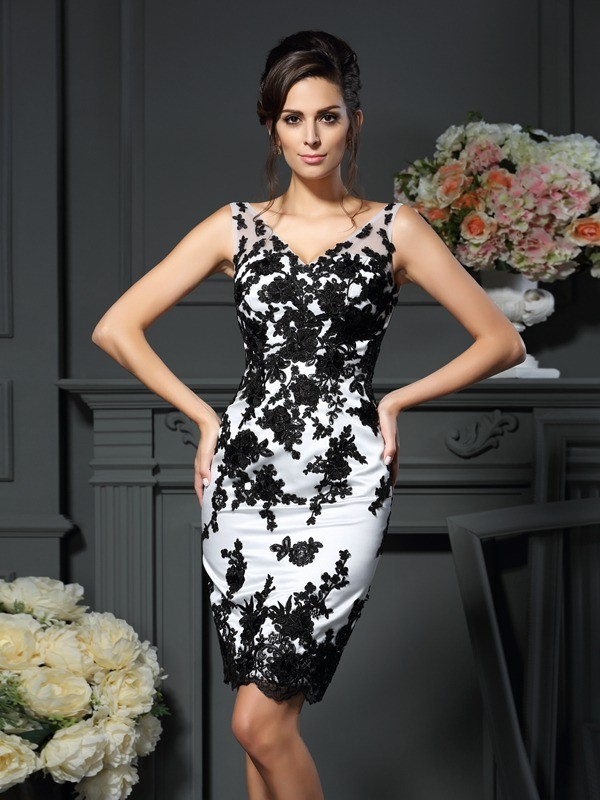 Sheath V-neck Knee-Length White Mother of the Bride Dresses