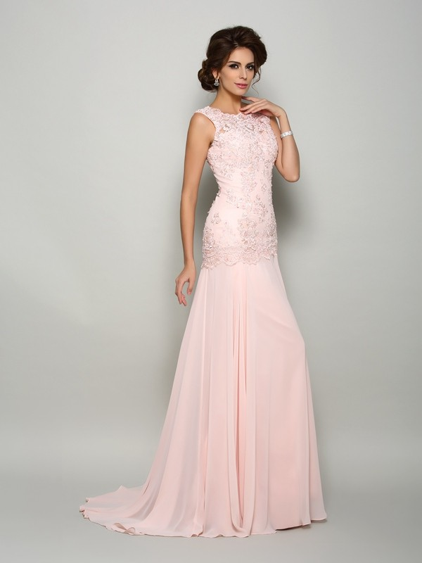 Brush Train Pearl Pink Scoop Mother of the Bride Dresses with Beading