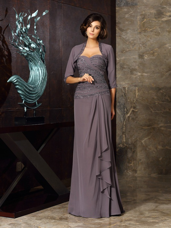 Floor-Length Grey Mother of the Bride Dresses with Beading