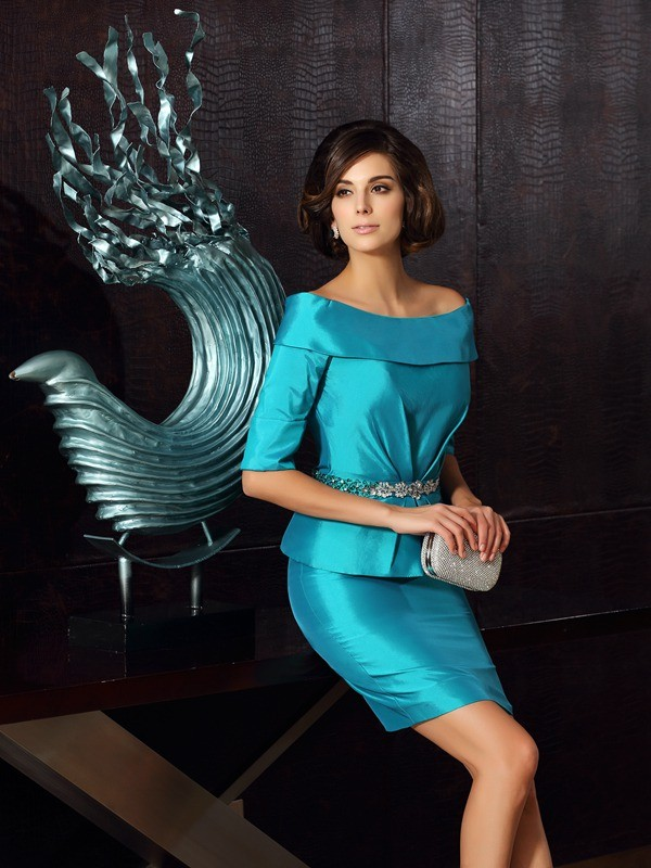 Blue Off-the-Shoulder Knee-Length Mother of the Bride Dresses