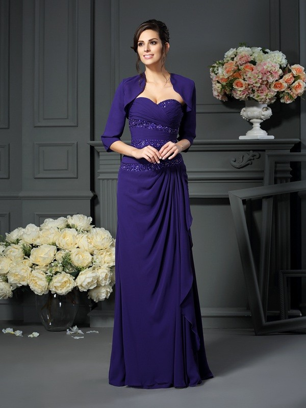 Chiffon Floor-Length Sweetheart Grape Mother of the Bride Dresses