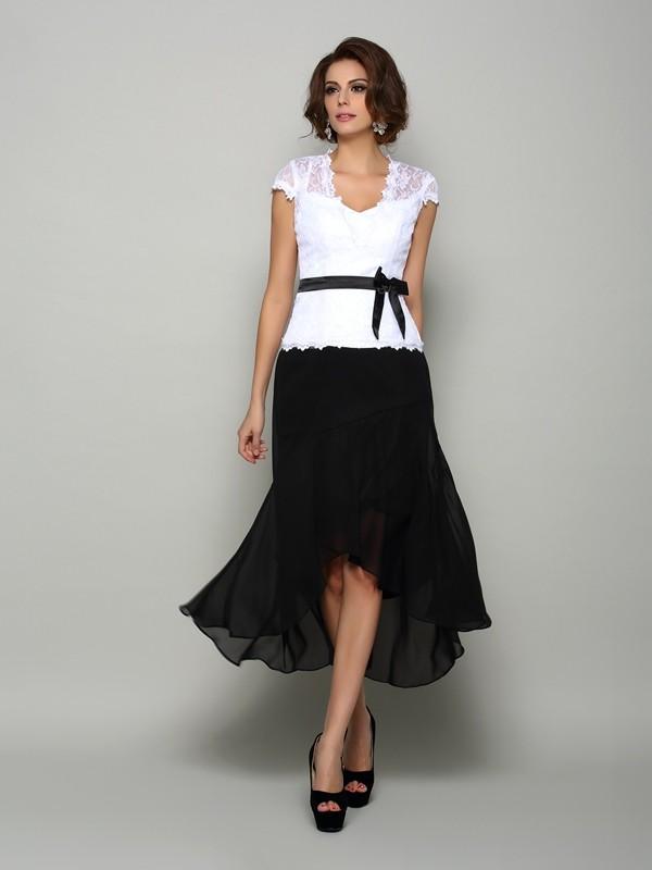 A-Line V-neck Asymmetrical Black Mother of the Bride Dresses
