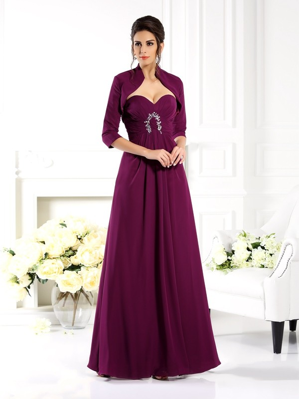 Chiffon Sweetheart Floor-Length Grape Mother of the Bride Dresses
