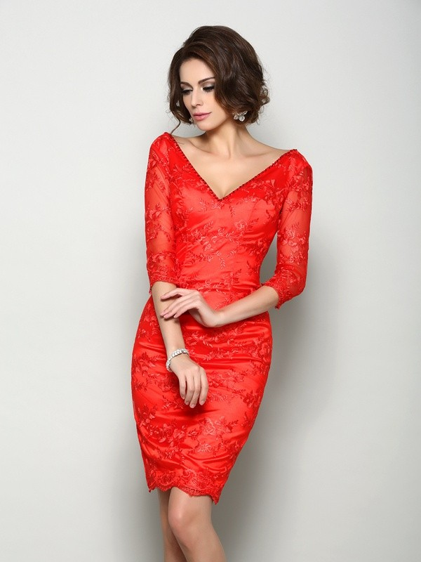 Lace Knee-Length Half Sleeves V-neck Red Mother of the Bride Dresses