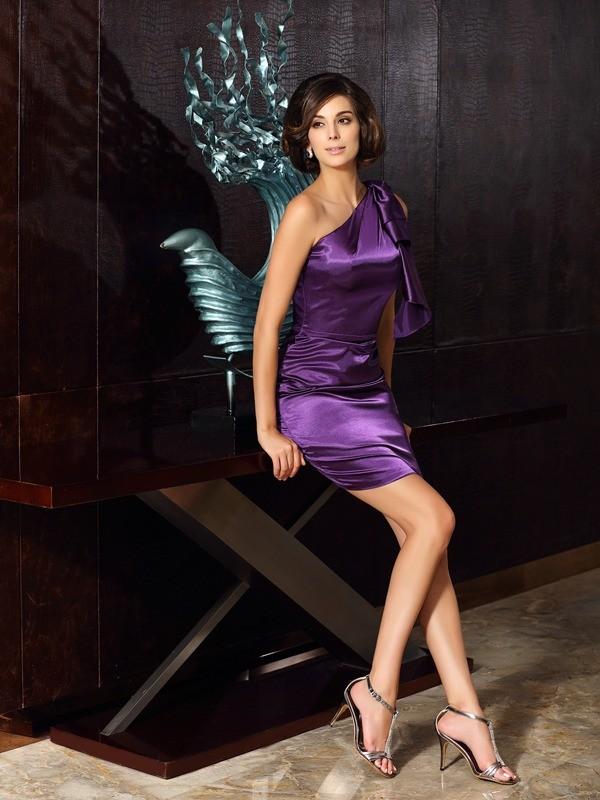 Grape One-Shoulder Elastic Woven Satin Knee-Length Mother of the Bride Dresses