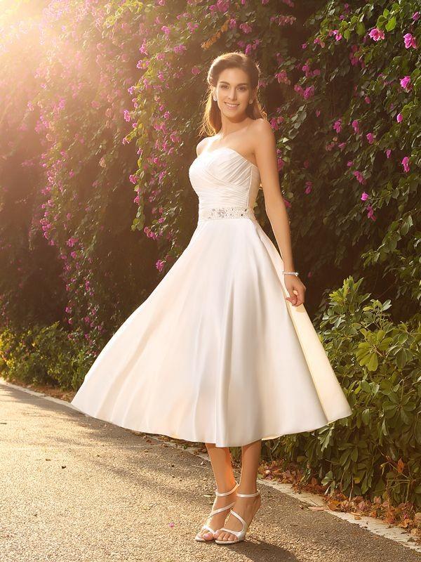 Ivory A-Line Sweetheart Tea-Length Wedding Dresses with Beading