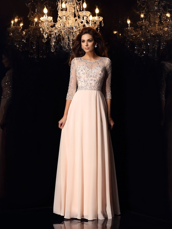 Pearl Pink A-Line Scoop Floor-Length Prom Dresses with Beading