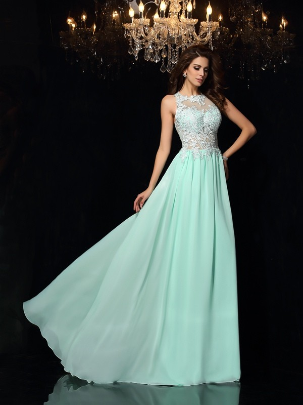 A-Line High Neck Brush Train Sage Prom Dresses