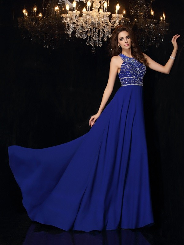 Royal Blue High Neck Chiffon Brush Train Prom Dresses