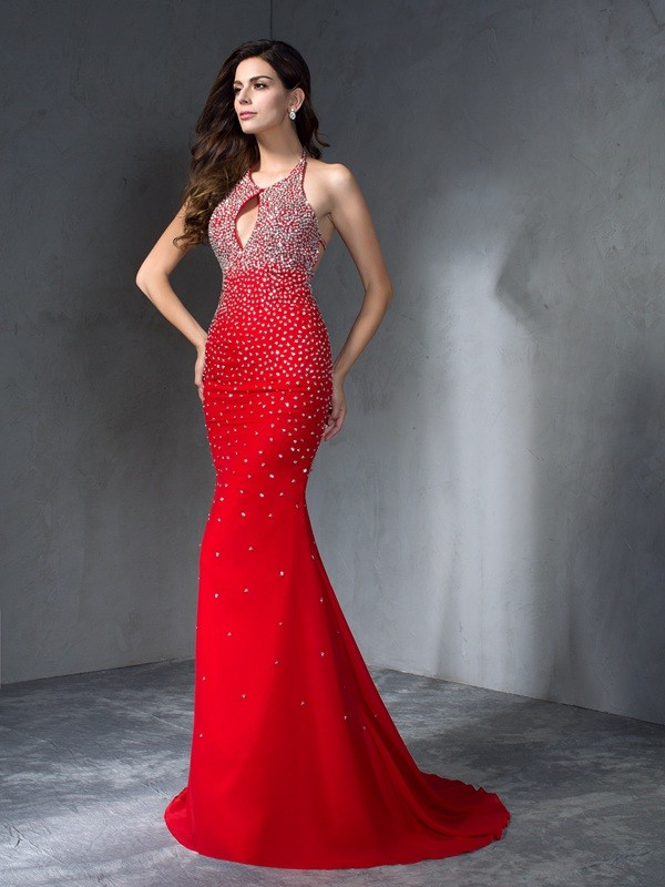 Chiffon Mermaid Brush Train Halter Red Prom Dresses