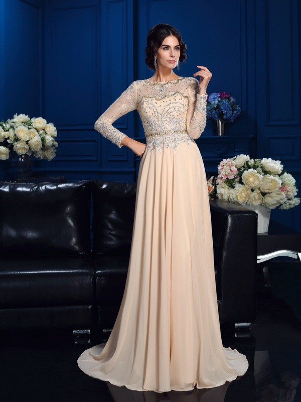 Long Sleeves Scoop Brush Train Champagne Prom Dresses with Beading