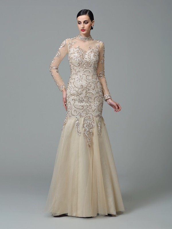 Long Sleeves Sheath High Neck Floor-Length Champagne Prom Dresses