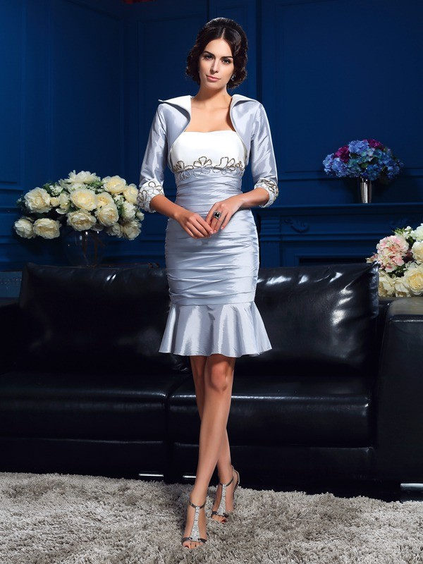 Sheath Sweetheart Short/Mini Silver Mother of the Bride Dresses