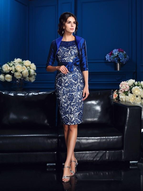 Half Sleeves Scoop Short/Mini Royal Blue Mother of the Bride Dresses