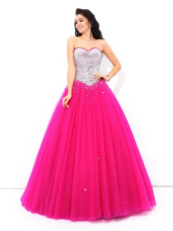 Sweetheart Floor-Length Fuchsia Prom Dresses with Beading