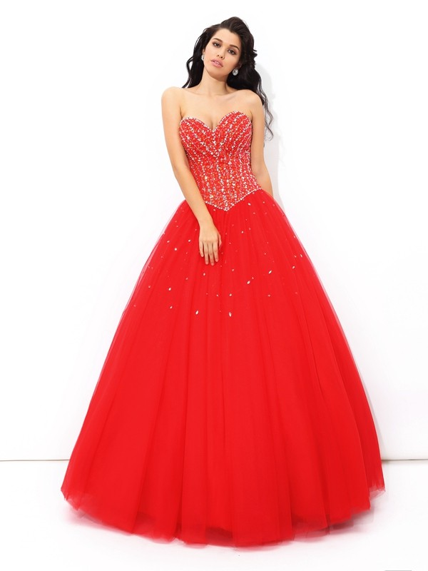 Net Sweetheart Floor-Length Red Prom Dresses