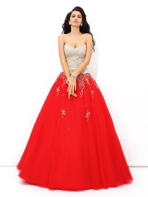 Red Sweetheart Satin Floor-Length Prom Dresses