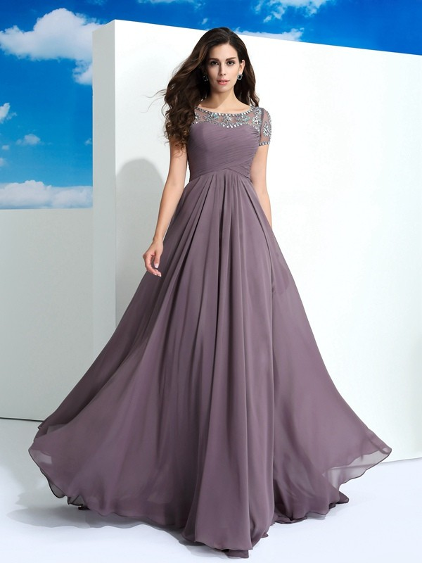 Short Sleeves Sheer Neck Floor-Length Brown Prom Dresses with Beading