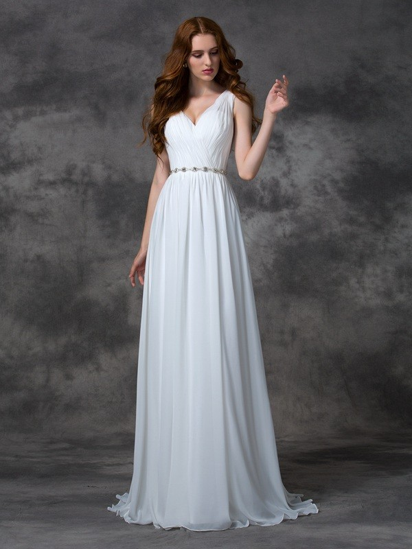 Chiffon V-neck Brush Train White Prom Dresses