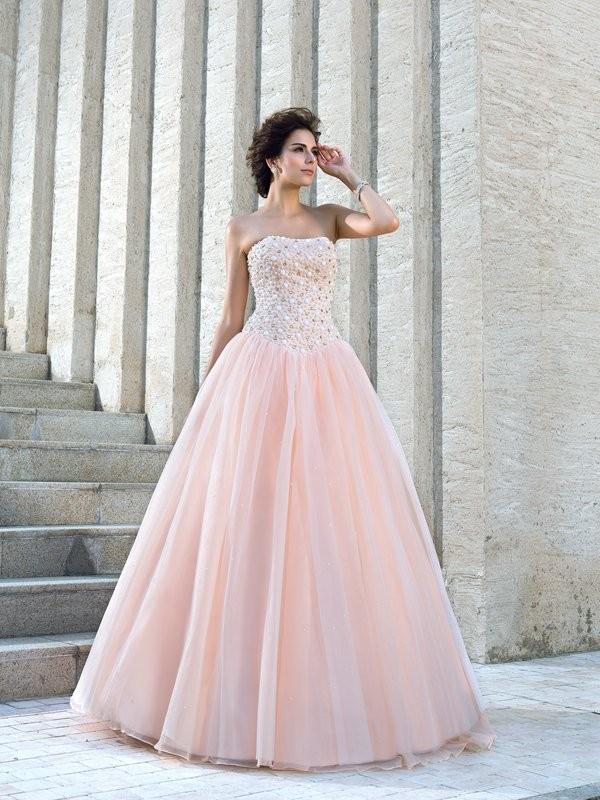 Ball Gown Strapless Floor-Length Pink Wedding Dresses