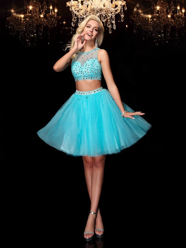 Light Sky Blue Scoop Net Short/Mini Homecoming Dresses