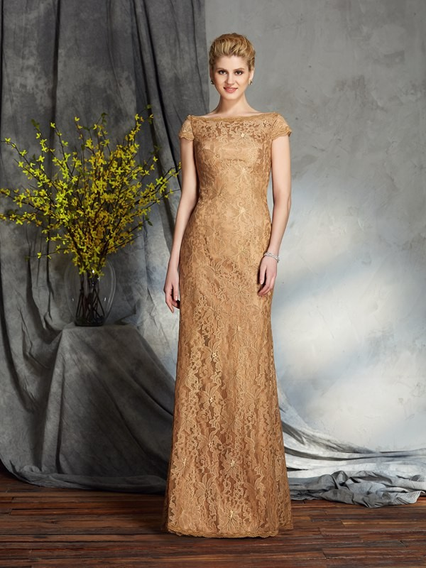 Sheath Bateau Floor-Length Gold Mother of the Bride Dresses with Lace