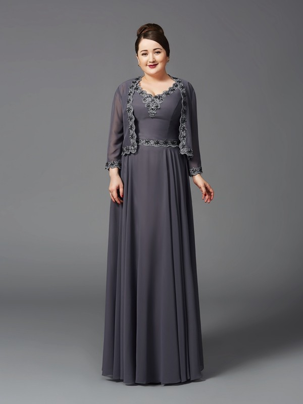 Floor-Length Grey Straps Mother of the Bride Dresses with Lace