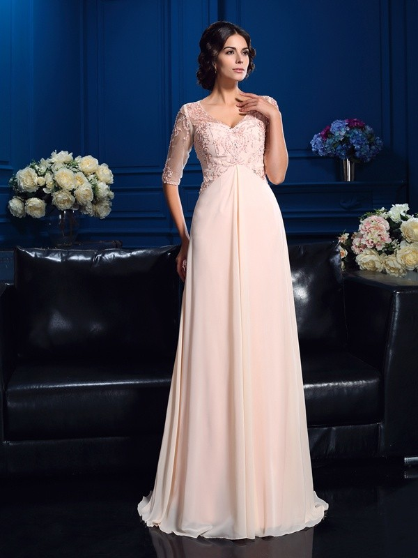 Pink V-neck Chiffon Brush Train Mother of the Bride Dresses