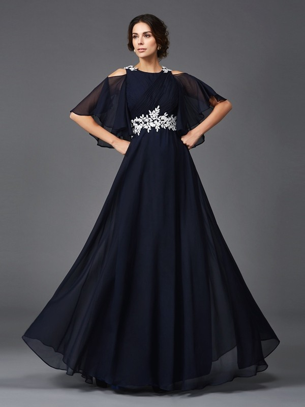 Dark Navy Straps Chiffon Floor-Length Mother of the Bride Dresses
