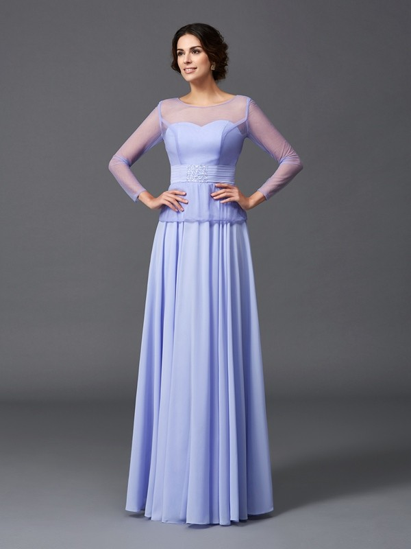 Scoop Floor-Length Lavender Mother of the Bride Dresses with Ruffles