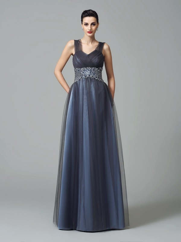 Net A-Line Floor-Length Straps Dark Navy Mother of the Bride Dresses