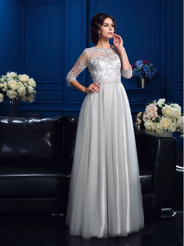 Elastic Woven Satin 3/4 Sleeves Scoop Floor-Length Champagne Mother of the Bride Dresses