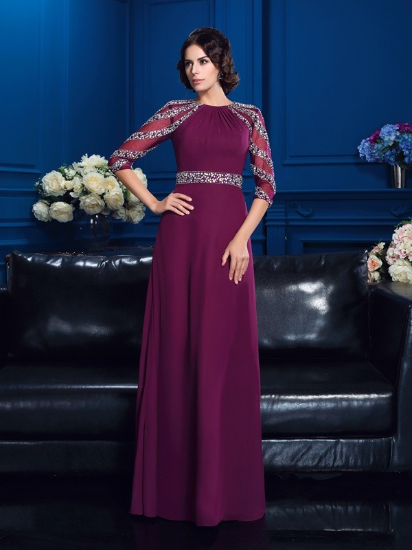 Burgundy Scoop Floor-Length Mother of the Bride Dresses with Beading