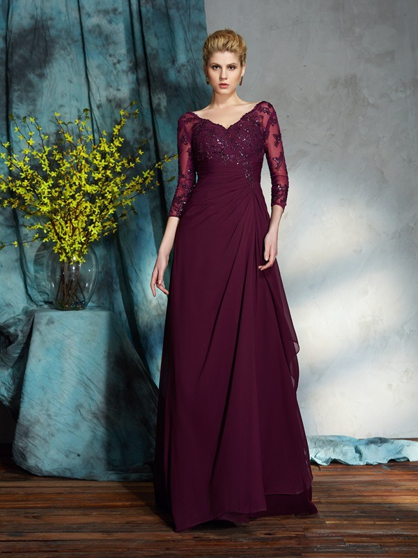 V-neck Floor-Length Burgundy Mother of the Bride Dresses with Beading