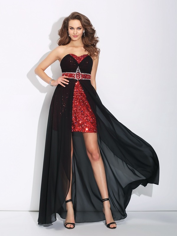 A-Line Sweetheart Asymmetrical Black Prom Dresses with Sequin