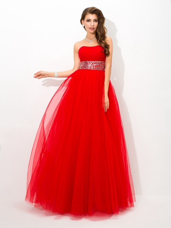Red Ball Gown Strapless Floor-Length Prom Dresses with Beading