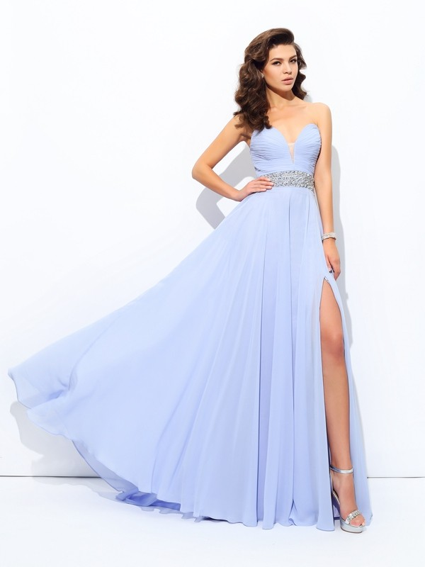 A-Line Chiffon Sweetheart Brush Train Prom Dresses with Beading