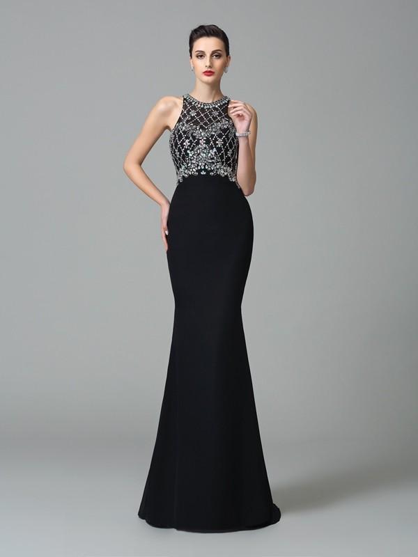 Jewel Brush Train Black Prom Dresses with Rhinestone