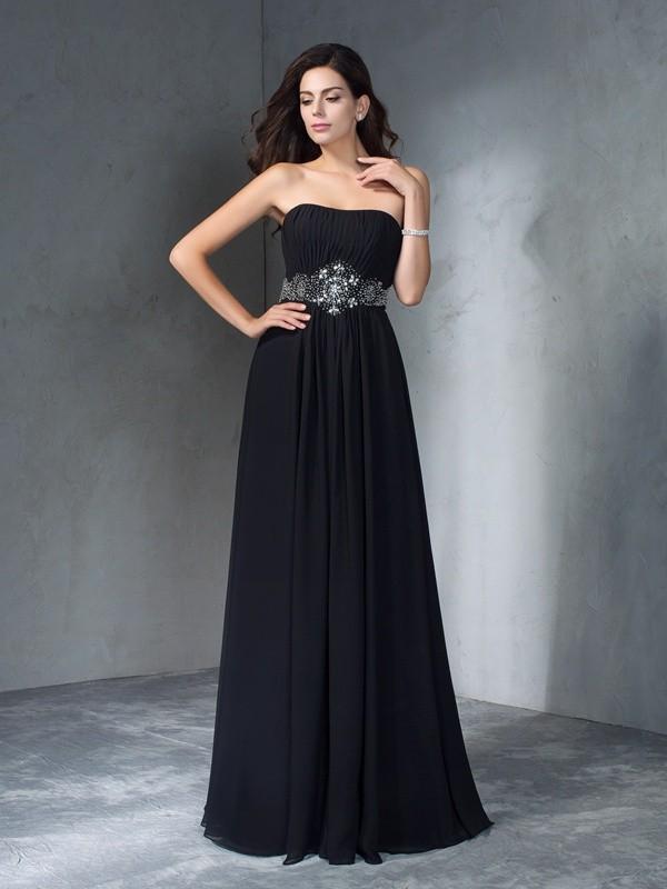 A-Line Chiffon Strapless Floor-Length Black Prom Dresses