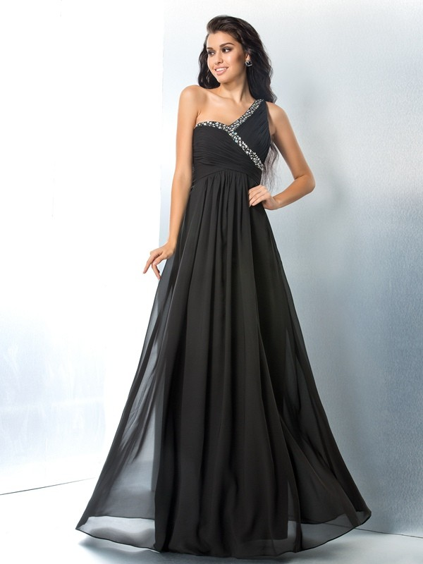 A-Line One-Shoulder Floor-Length Black Prom Dresses with Beading