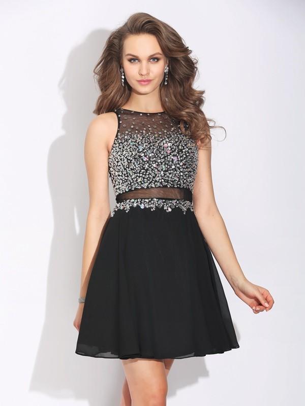 Jewel Short/Mini Black Prom Dresses with Beading