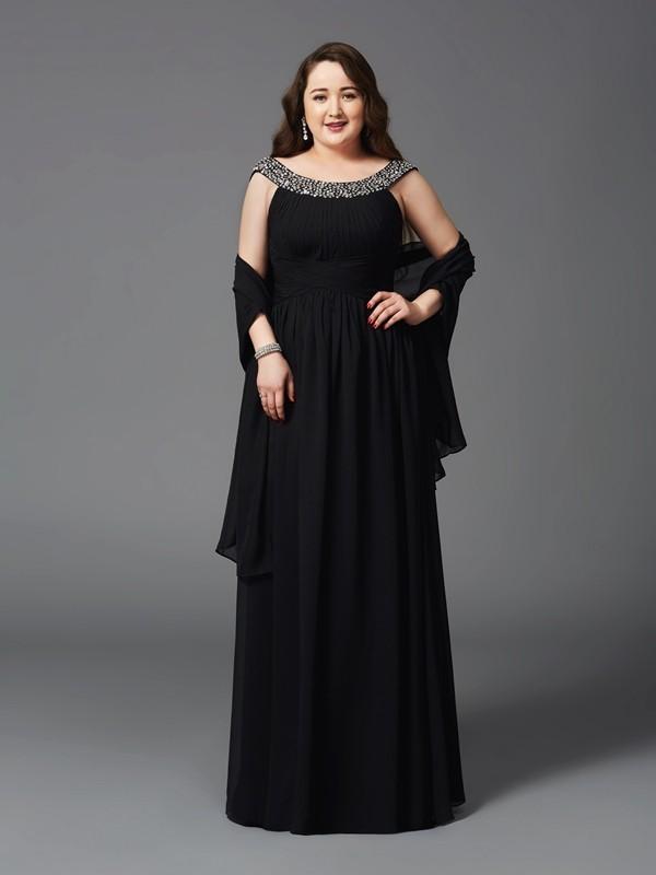 Scoop Floor-Length Black Prom Dresses with Rhinestone